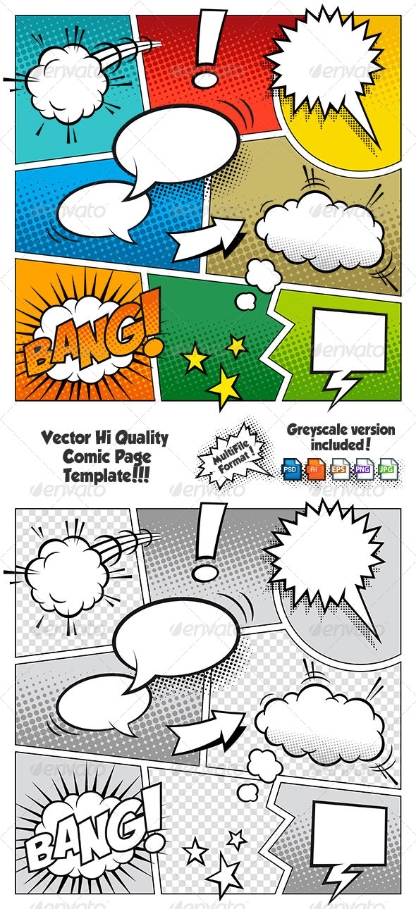 Color comic book page template by fourleaflover graphicriver for Comic book page template psd