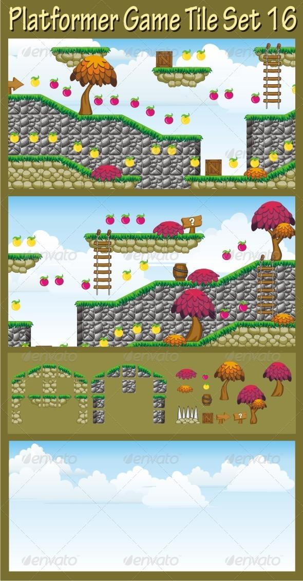 Platformer Game Tile Set 16 - Tilesets Game Assets
