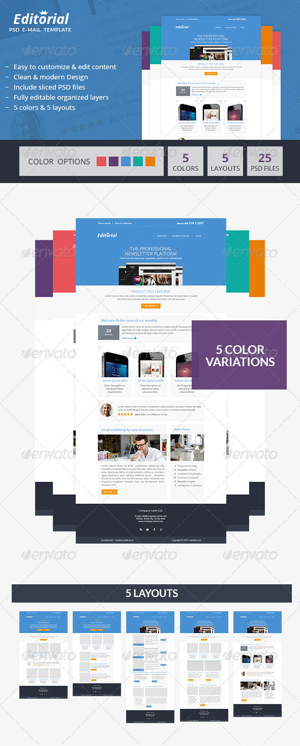 editorial minimal psd email newsletter template by smythemes