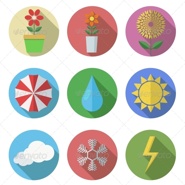 Vector Flat Icons Set on White Background - Seasonal Icons