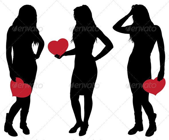 Silhouette of a Girl Holding a Heart - People Characters