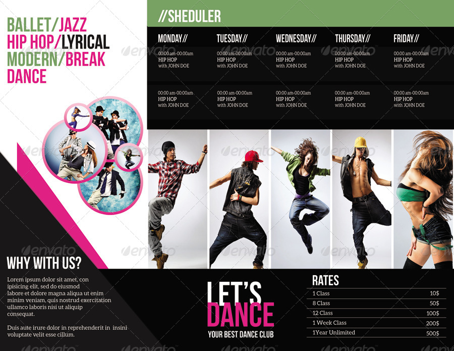 Trifold BrochureDance Studio By Smmr  Graphicriver