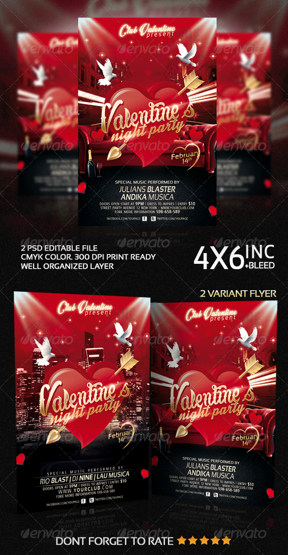 Valentines Night Party Flyer Template - Clubs & Parties Events