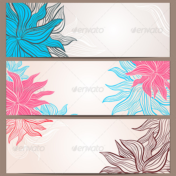 Set of Three Floral Banners - Backgrounds Decorative