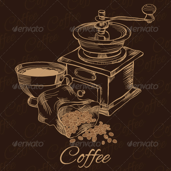 Coffee Grinder with Cup of Coffee and Beans - Food Objects