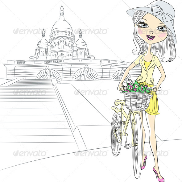 Girl with Flowers in Paris - People Characters