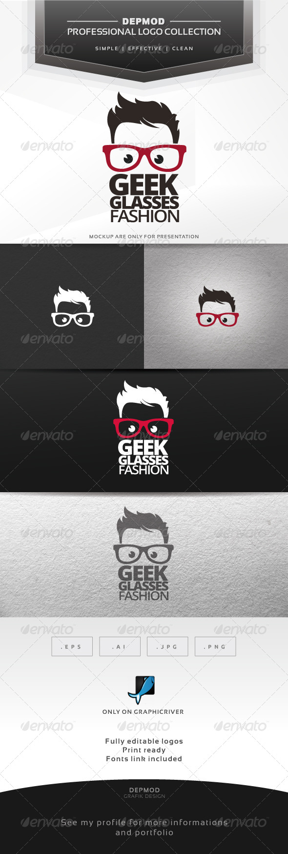 Geek Glasses Fashion Logo - Humans Logo Templates