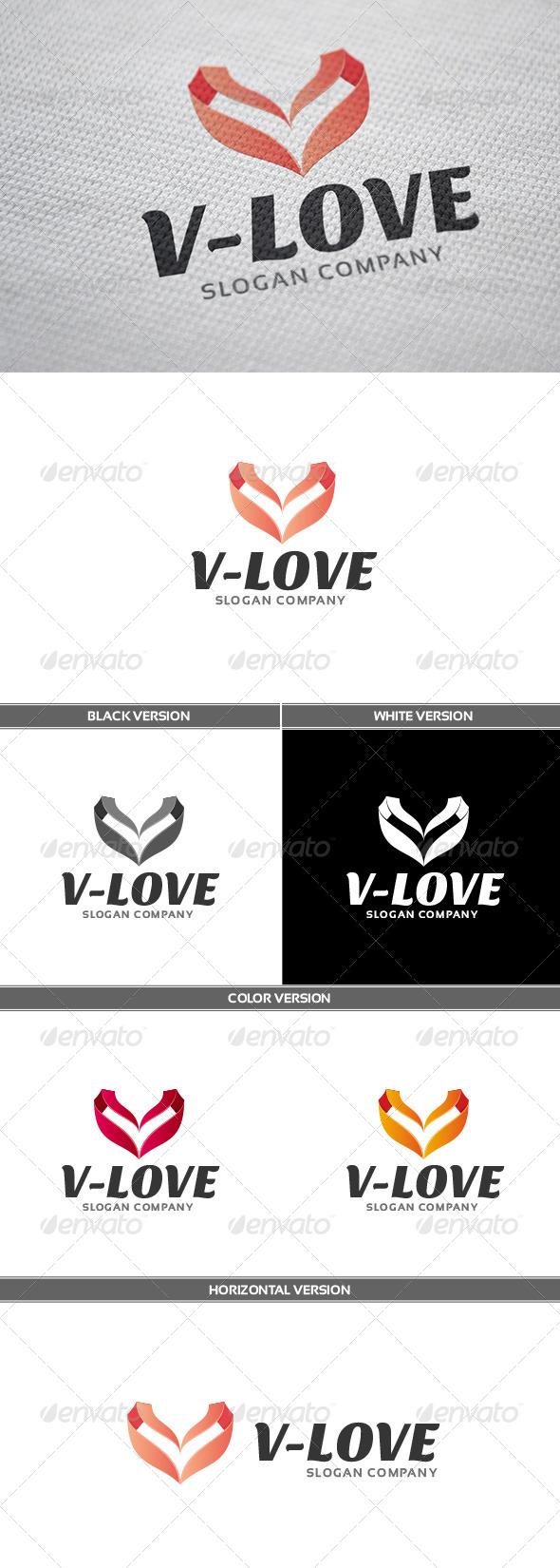 V-Love Logo - Letters Logo Templates