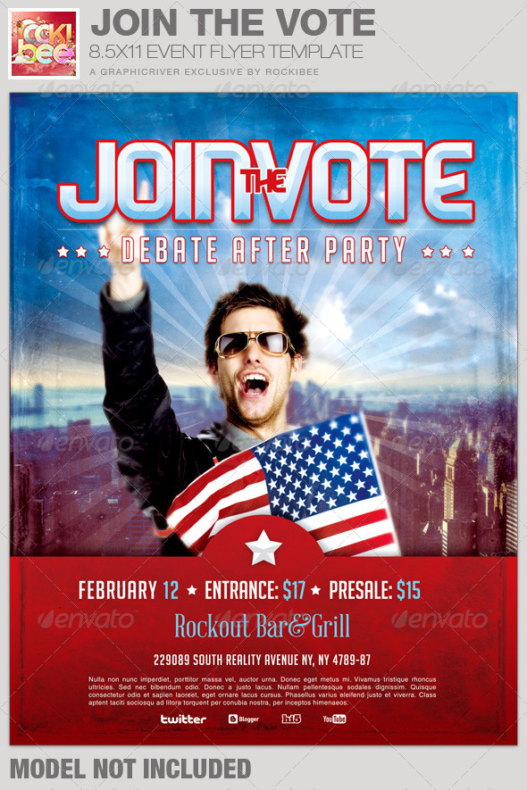 Join The Vote Event Flyer Template By Rockibee  Graphicriver