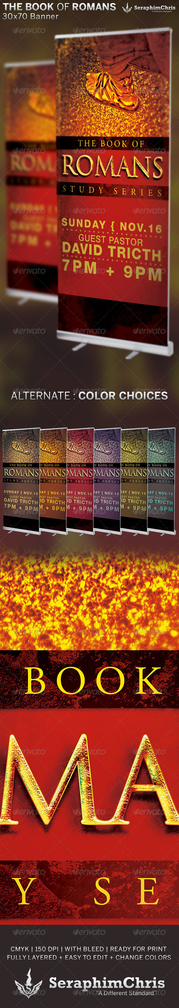 The Book of Romans: Church Banner Template - Signage Print Templates