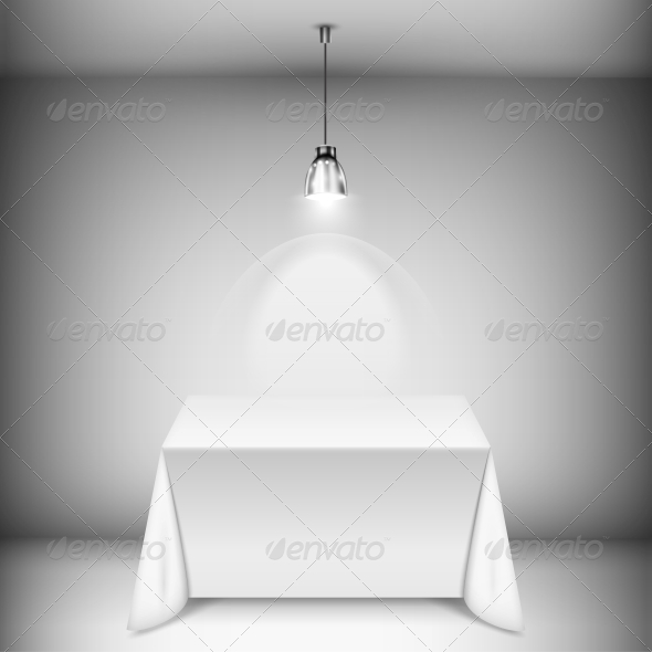 Table with Tablecloth Illuminated by Spotlight - Retail Commercial / Shopping