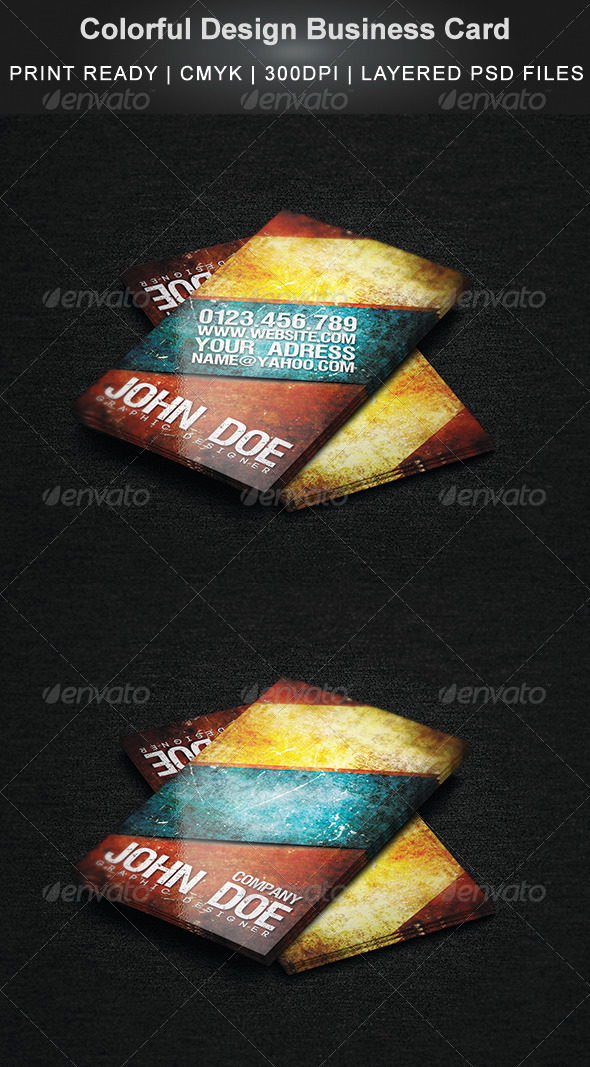 Colorful Design Business Card - Grunge Business Cards