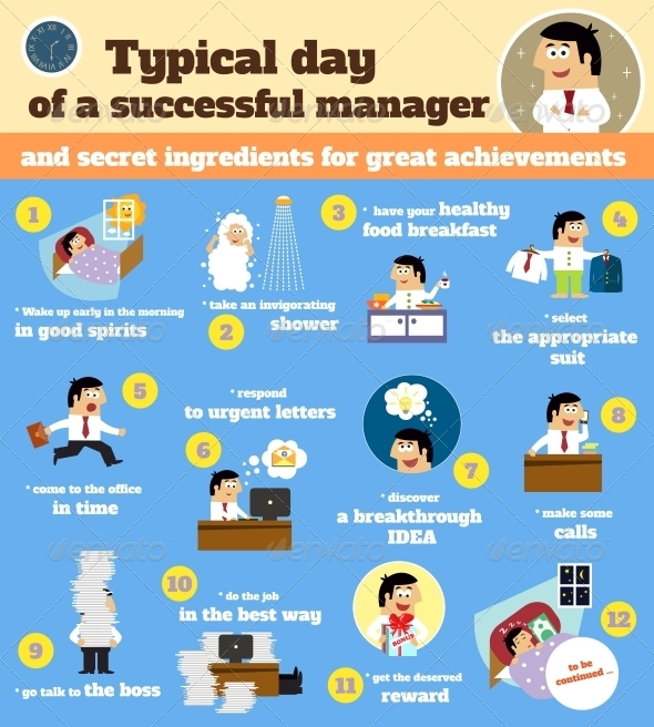 Manager Schedule Typical Workday - People Characters