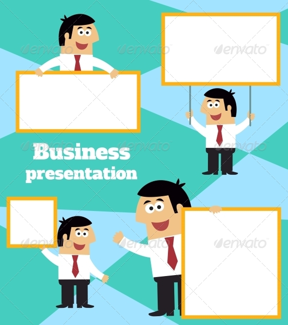 Businessman with Banner - Concepts Business
