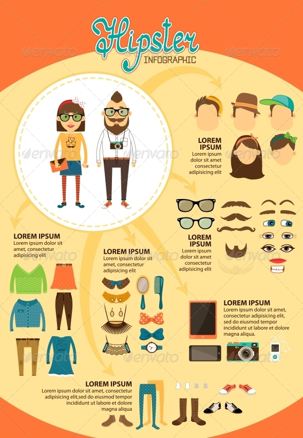 Hipster Infographics with Fashion Design Elements - Infographics