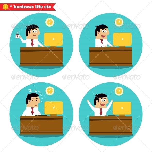 Office Worker at the Desk - Web Elements Vectors