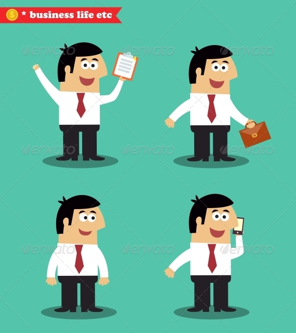 Businessman in Poses Standing Set - People Characters