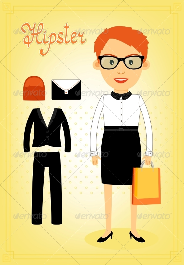 Hipster Character Elements for Business Woman - People Characters