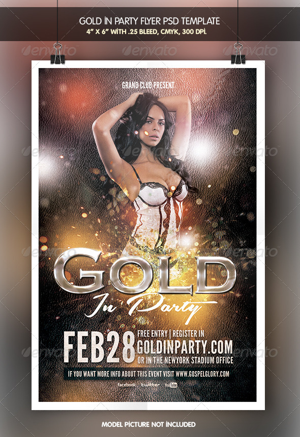 Gold in Party | Flyer Template - Clubs & Parties Events
