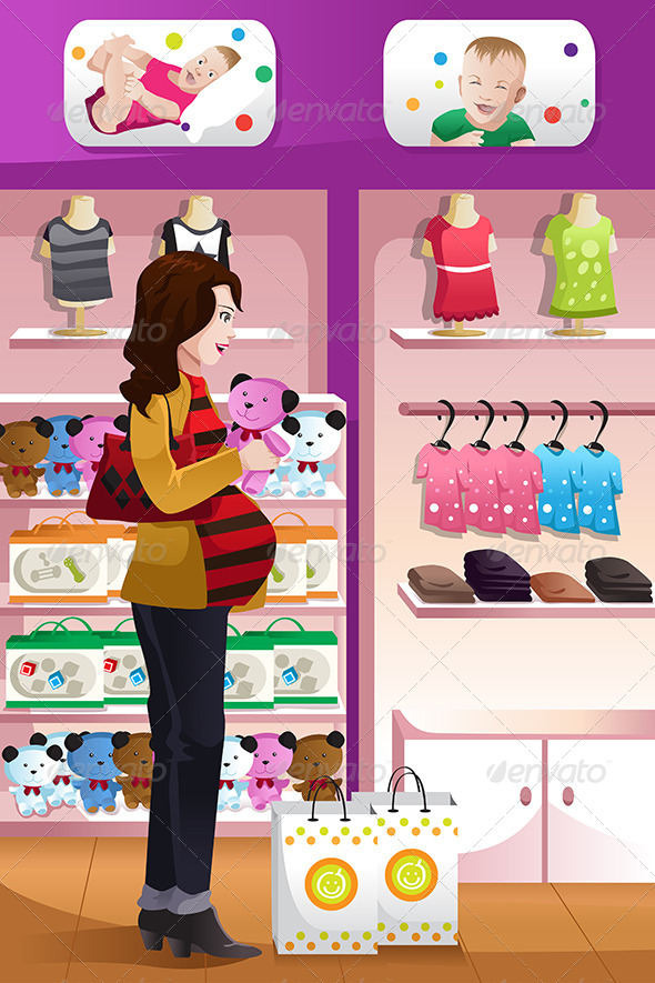Pregnant Woman Shopping Baby Stuff - Commercial / Shopping Conceptual