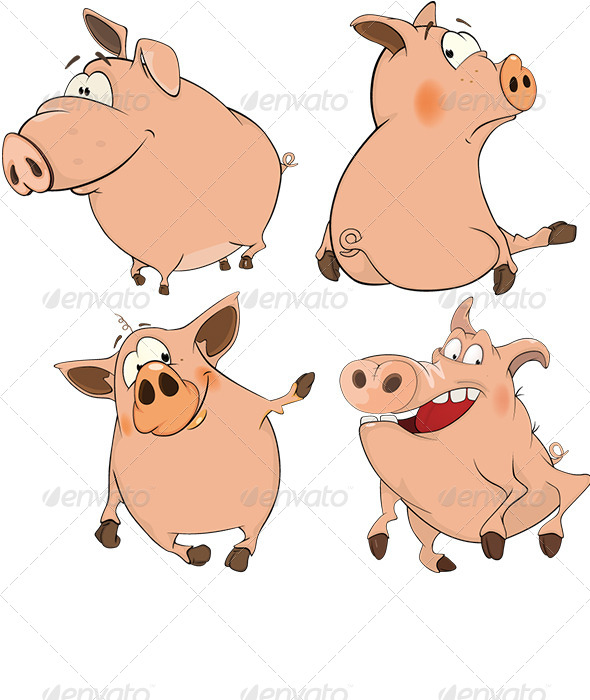 Set of Cheerful Pigs Cartoon  - Animals Characters