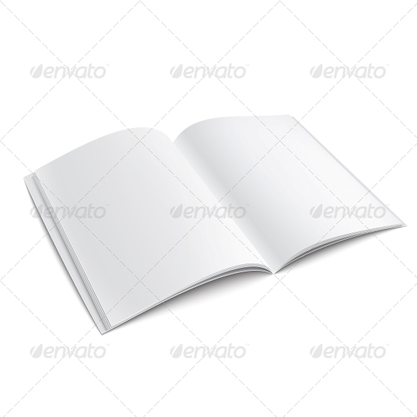 Blank Opened Magazine Template - Man-made Objects Objects