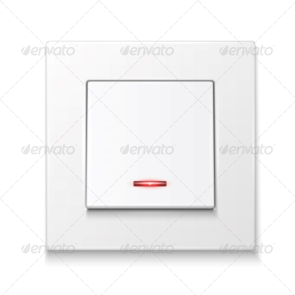White Wall Switch with Illumination. - Man-made Objects Objects