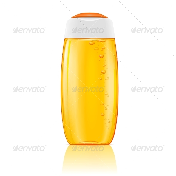 Yellow Shampoo Bottle with Bubbles. - Man-made Objects Objects
