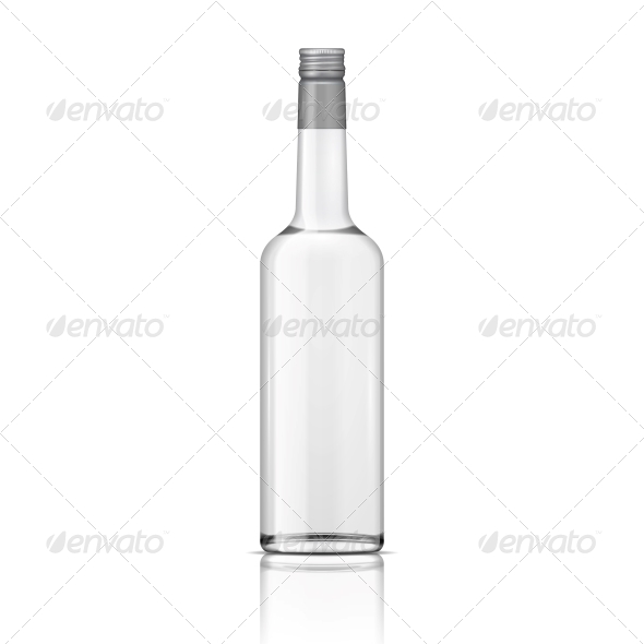 Glass Vodka Bottle with Screw Cap. - Food Objects