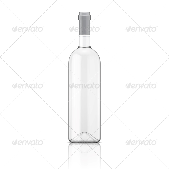 Transparent Wine Bottle. - Food Objects