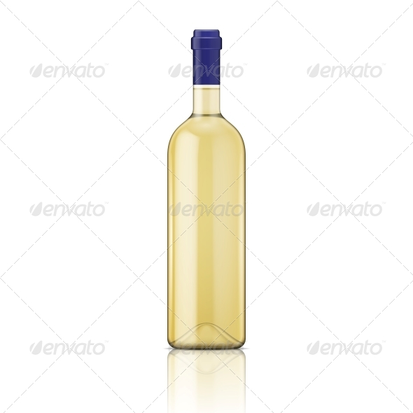 White Wine Bottle. - Food Objects