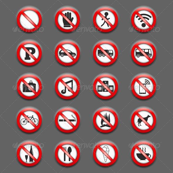 Prohibition Signs - Miscellaneous Vectors