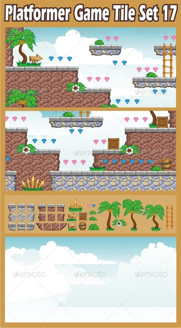 Platformer Game Tile Set 17 - Tilesets Game Assets