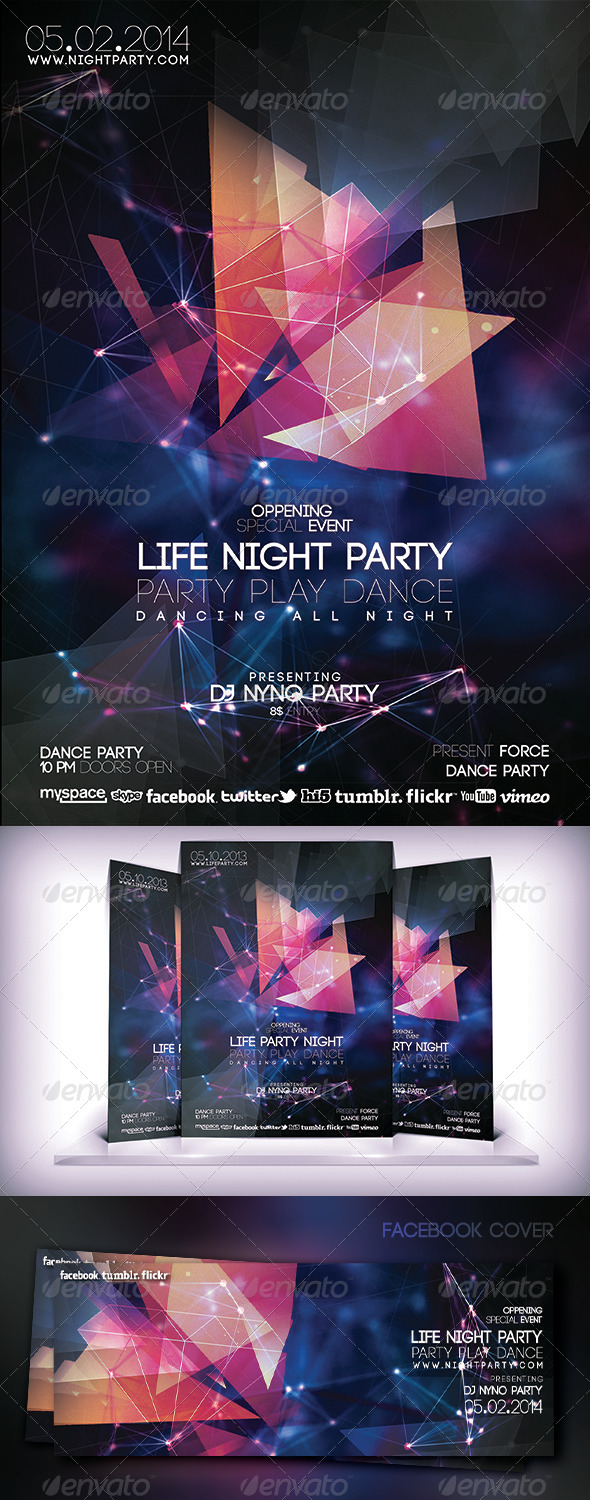 Life Night Party Fyer - Flyers Print Templates