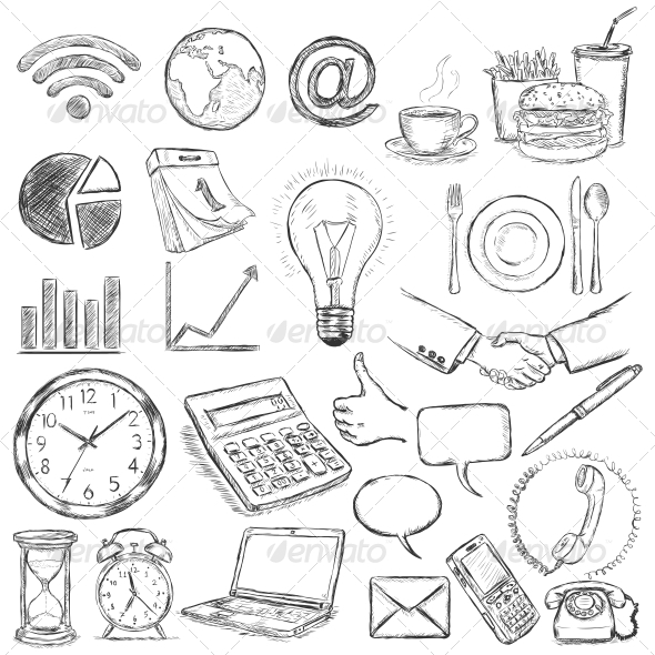 Vector Set of 25 Hand Draw Business Icons - Concepts Business