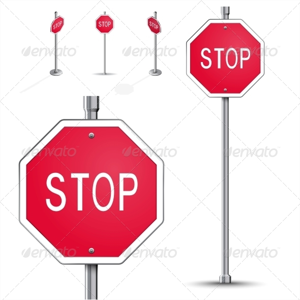 Stop Road Sign - Man-made Objects Objects
