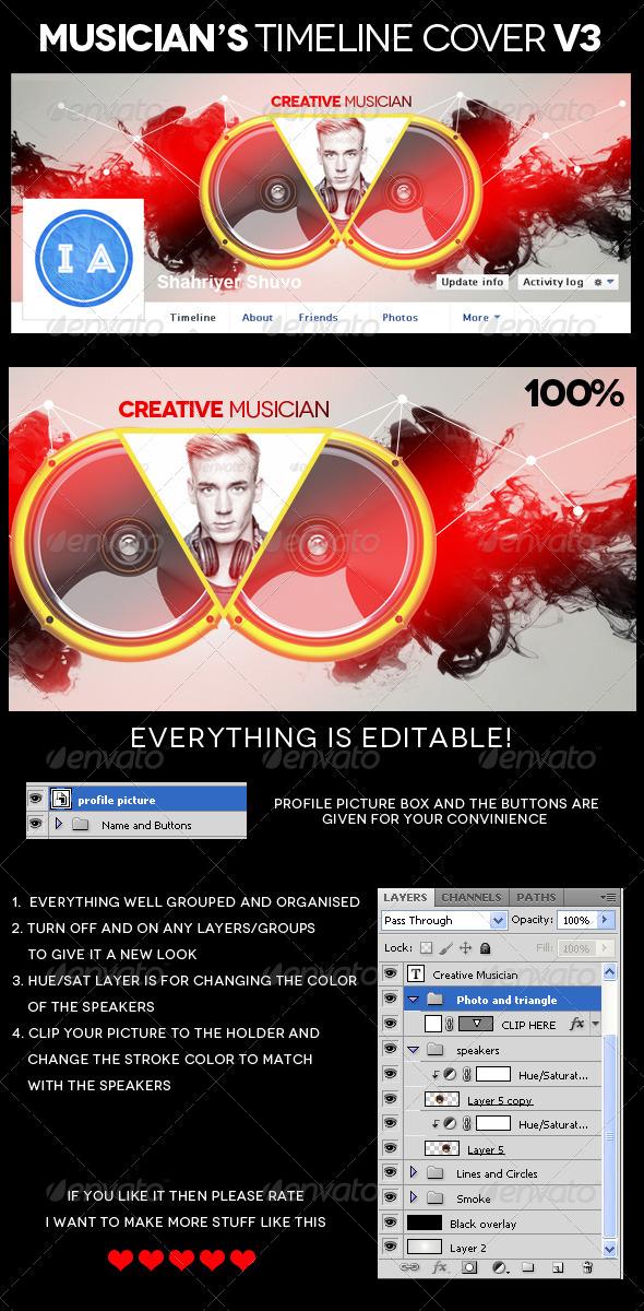 Musician's Facebook Timeline Cover V3 - Facebook Timeline Covers Social Media