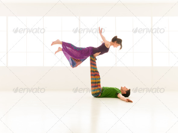 yoga partners dance - Stock Photo - Images