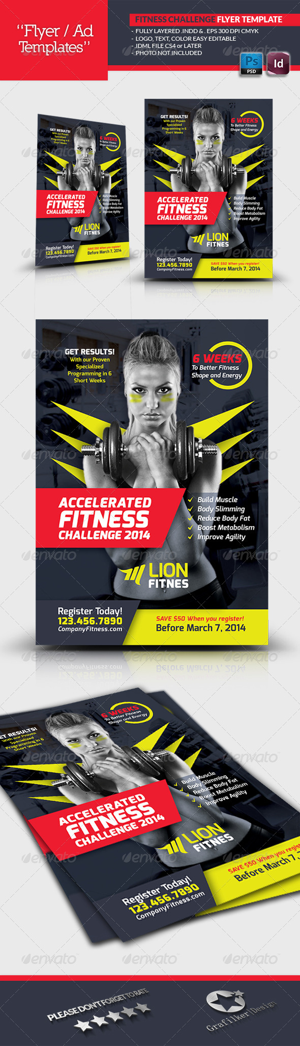 Fitness Challenge Flyer Template - Corporate Flyers