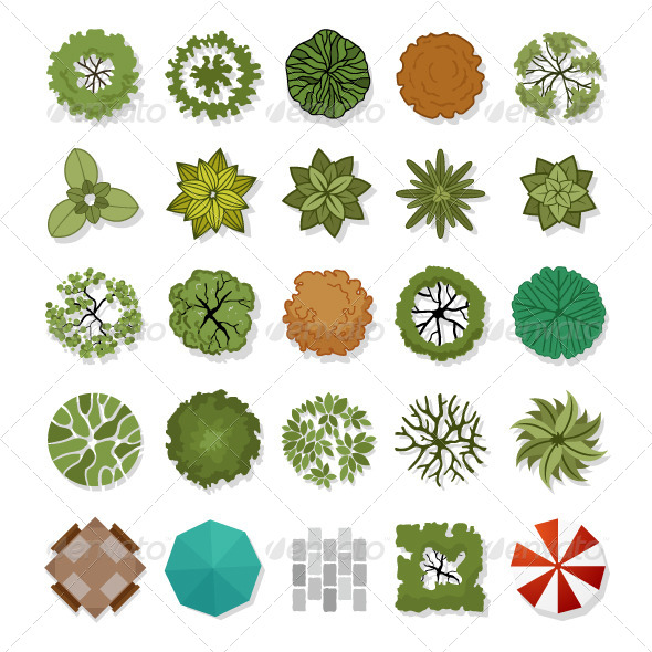 Trees Top View for Landscape Design  - Landscapes Nature