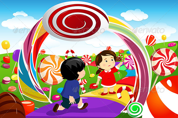 Kids Playing in a Candy Land - People Characters