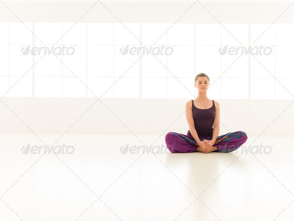 beginner yoga practice - Stock Photo - Images