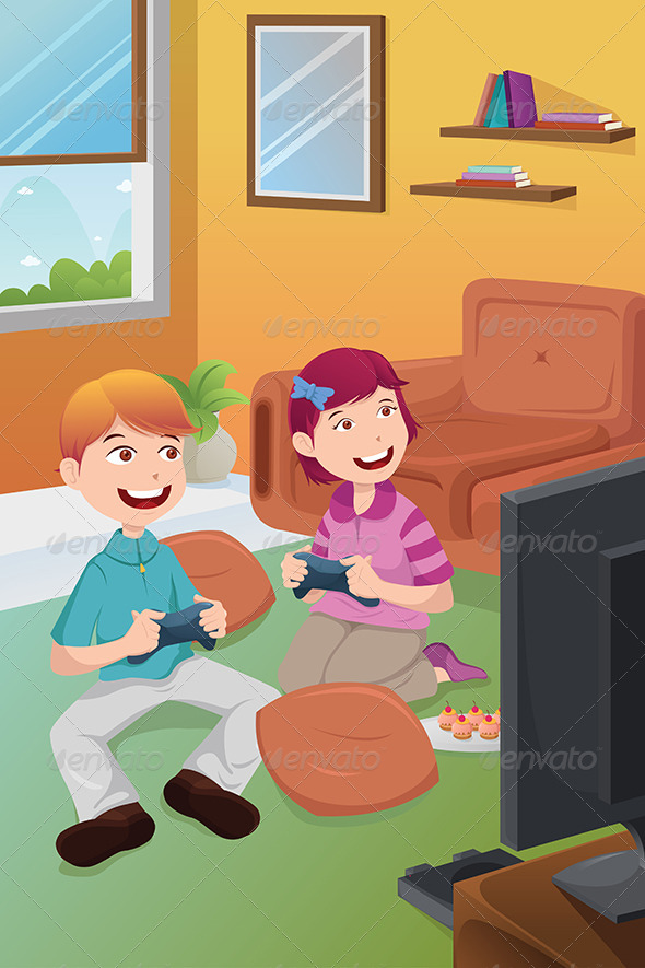 Kids Playing Video Games at Home - People Characters