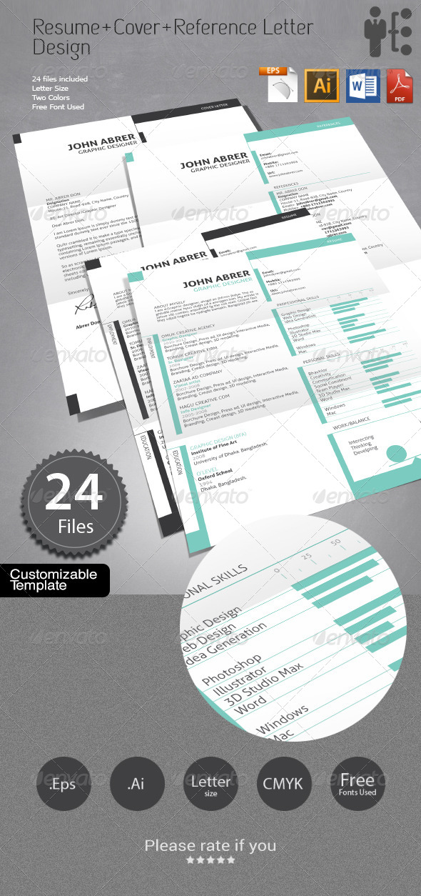Resume+Cover Letter+References Design - Resumes Stationery