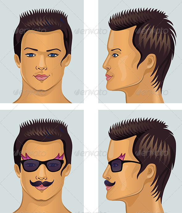 Showman Brunet Head with Mustache and Sunglasses - People Characters