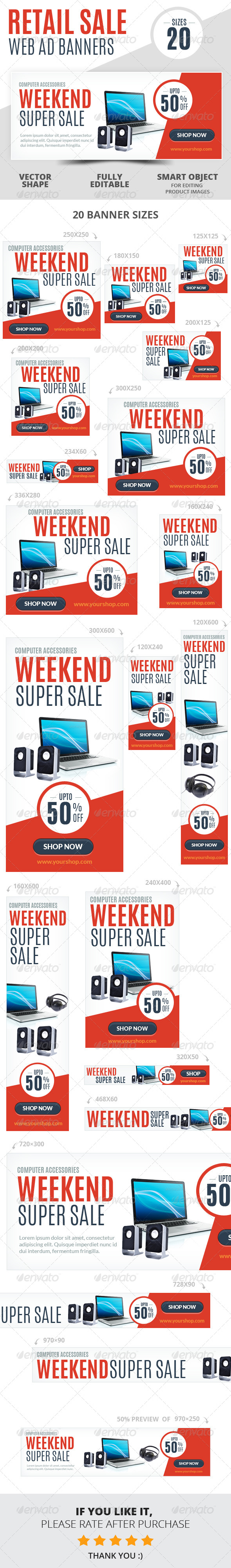 Weekend Super Sale Retail Web Ad Banners - Banners & Ads Web Elements