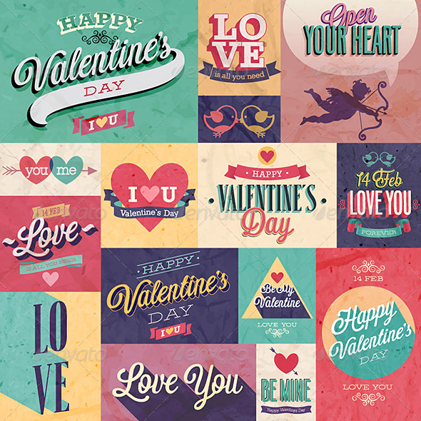 Valentines Day Set Emblems and Decorative Elements - Valentines Seasons/Holidays