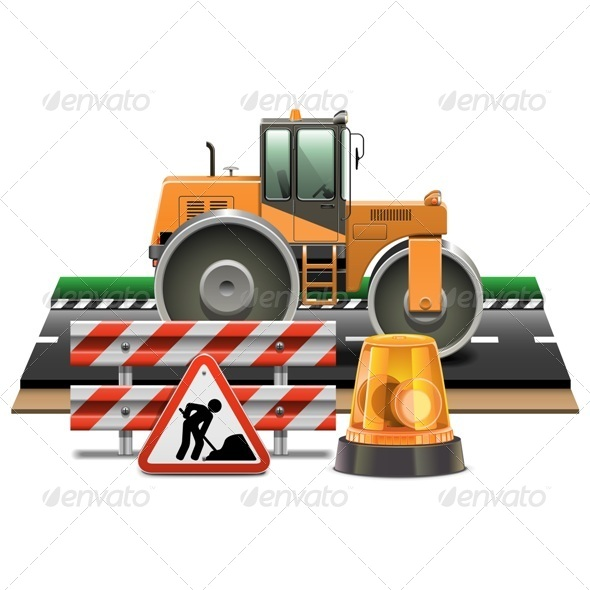 Vector Road Construction with Road Roller - Industries Business