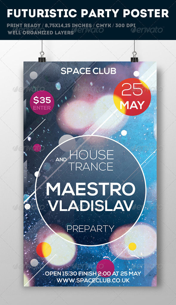 Futuristic Poster Template - Flyers Print Templates