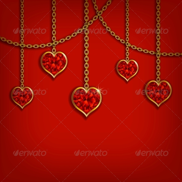 Hearts on Chains Valentine's Day Background - Valentines Seasons/Holidays